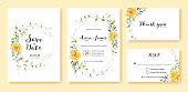 Wedding Invitation, save the date, thank you, rsvp card Design template. Yellow flower, silver dollar, olive leaves, Ivy plants. Vector