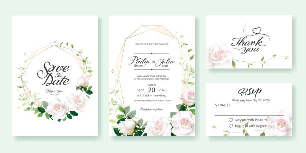 wedding invitation, save the date, thank you, rsvp card design template. white rose flower, lemon leaf, ivy leaves. - thank you background stock illustrations