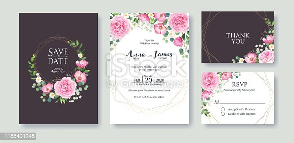 Wedding Invitation, save the date, thank you, rsvp card Design template. Vector. Summer flower, pink rose, silver dollar, Wax flower.