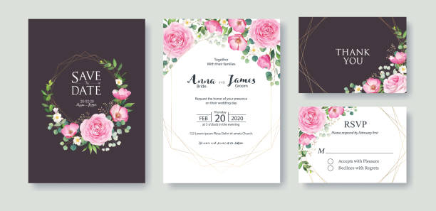wedding invitation, save the date, thank you, rsvp card design template. summer flower, pink rose, silver dollar, wax flower. - thank you background stock illustrations