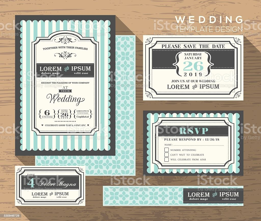 wedding invitation set design Template vector art illustration