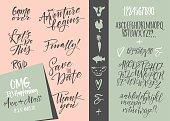 Wedding invitation set & Vector alphabets