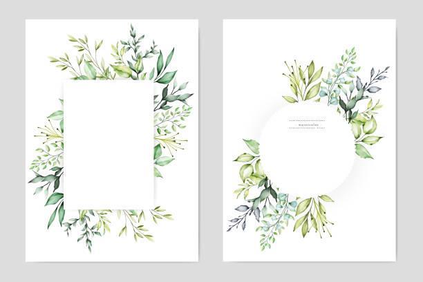 wedding invitation set wedding invitation set lush foliage stock illustrations