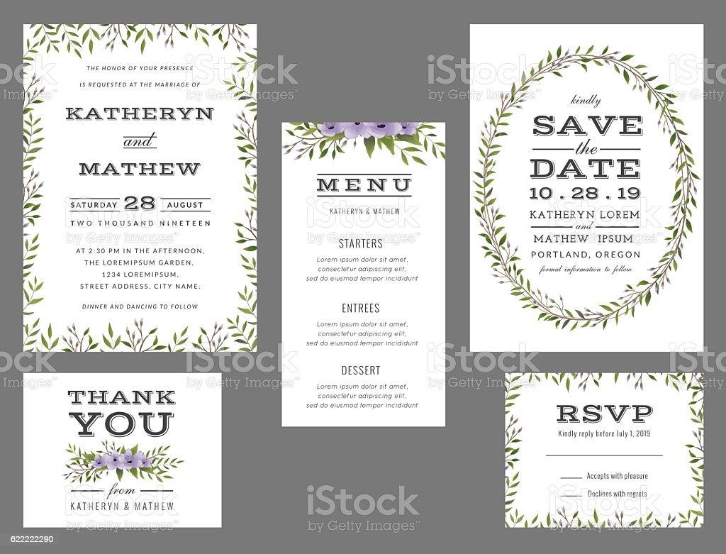 Wedding Invitation Suite | Wedding Invitation Suite Template Stock Vektor Art Und Mehr Bilder