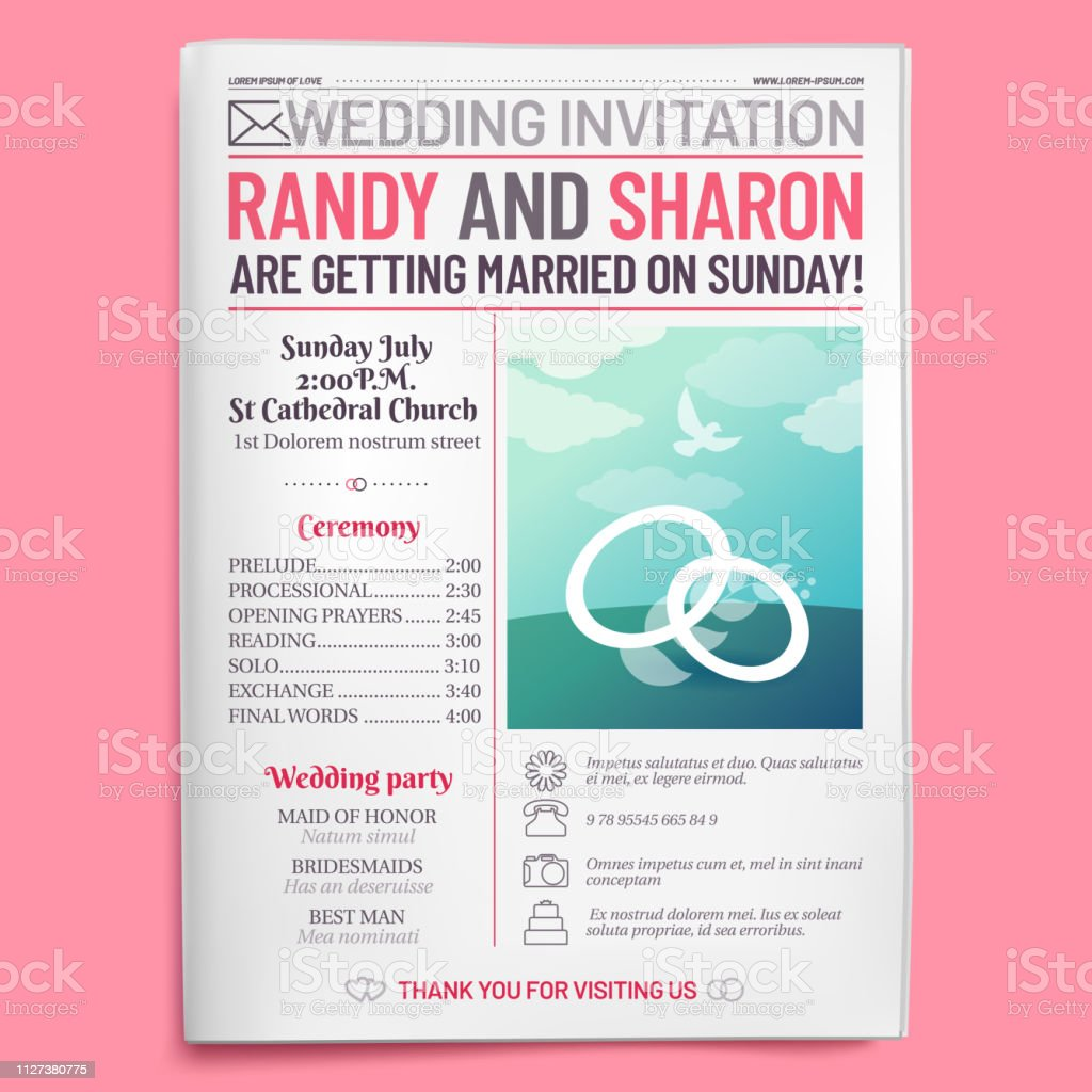 Wedding invitation tabloid. Newspaper front page, getting married...