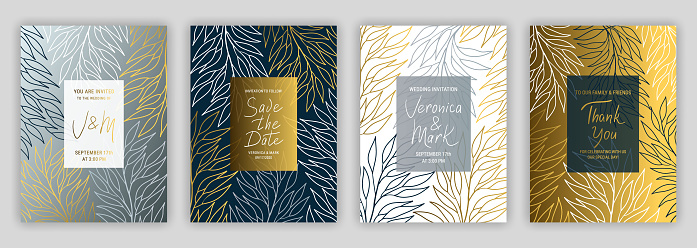 Wedding invitation template EPS 10 vector set. Elegant eucalyptus branches with linear style black, white, gold and silver leaves.