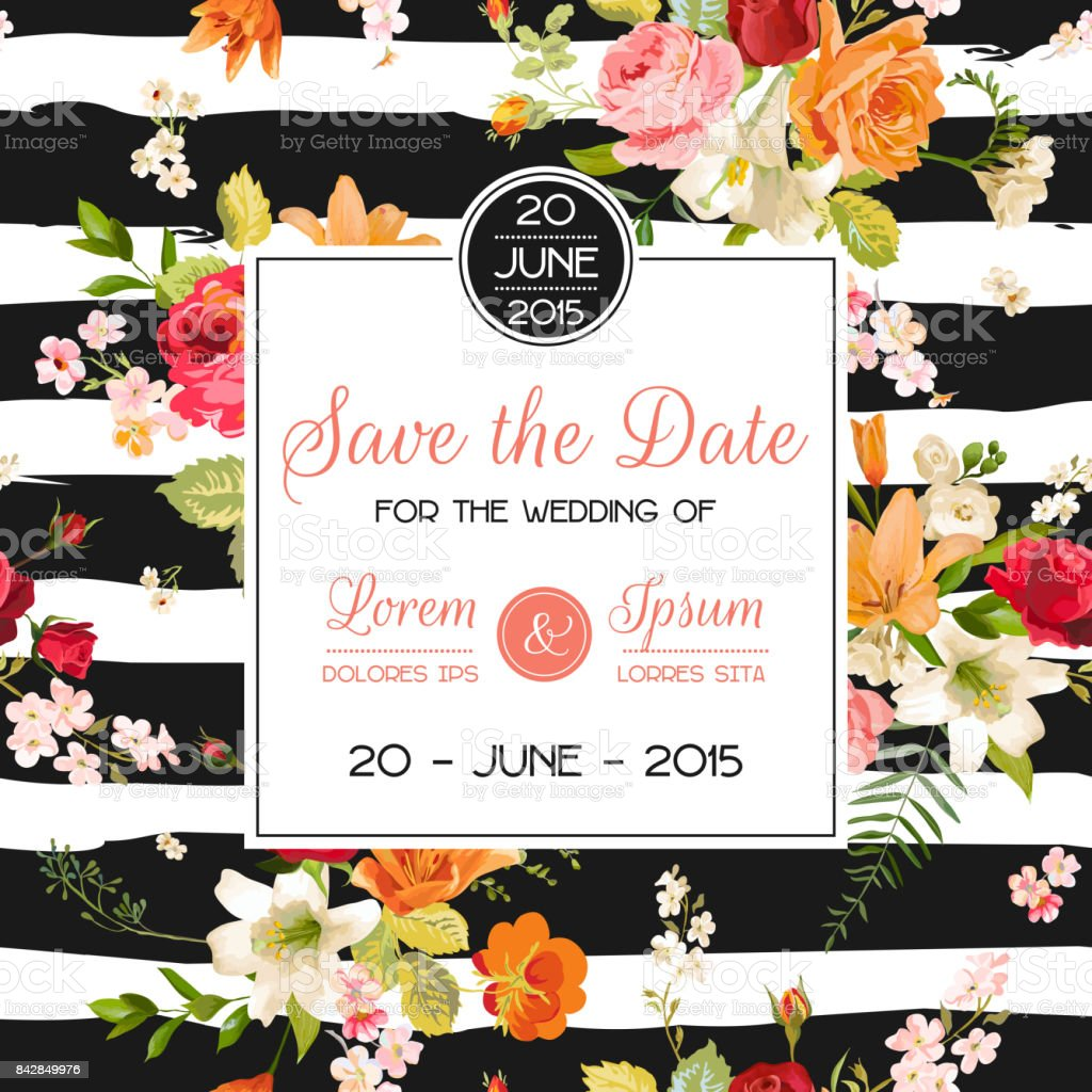 Wedding Invitation Template Floral Greeting Card With Lily And