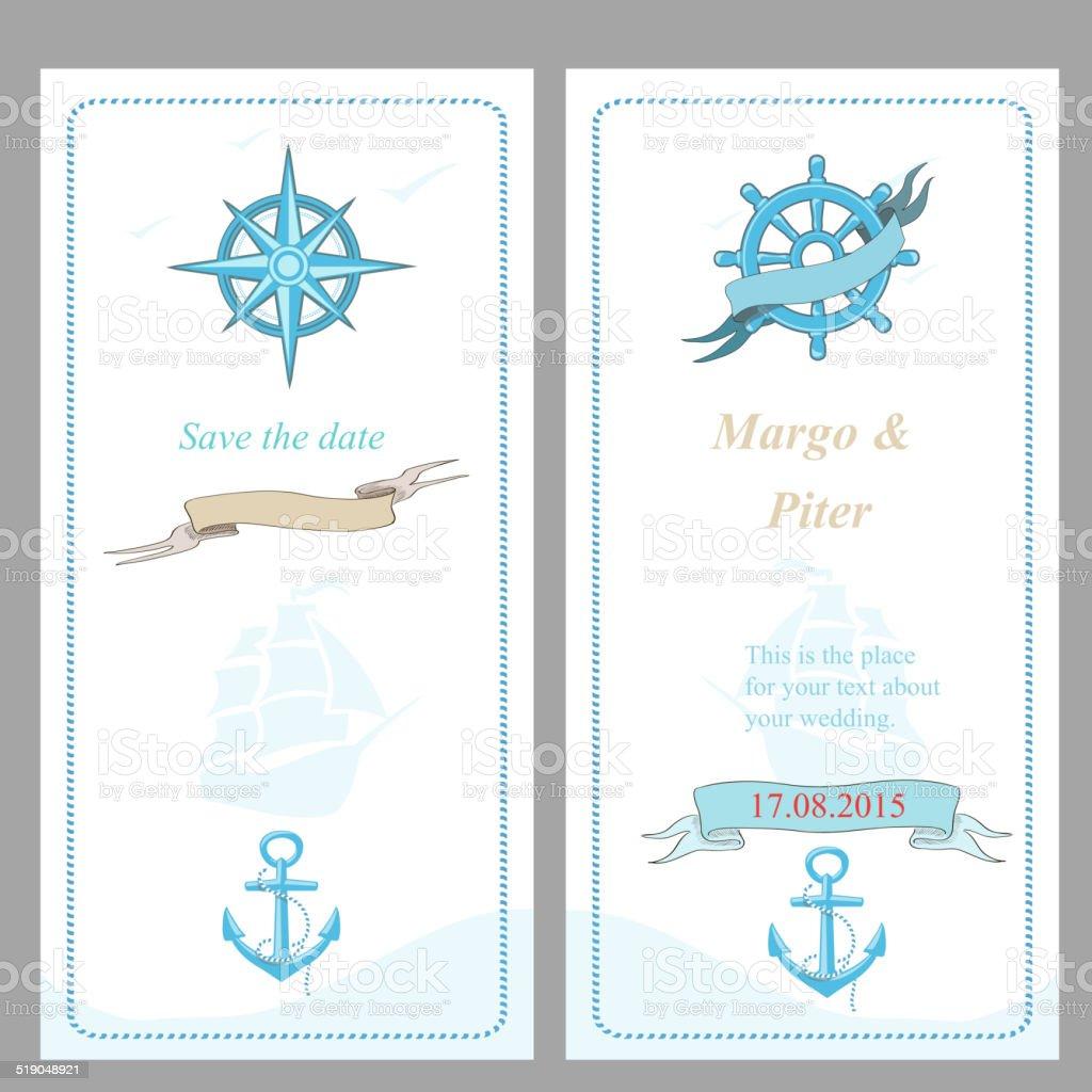 Wedding Invitation Template Nautical Style Stock Vector Art & More ...