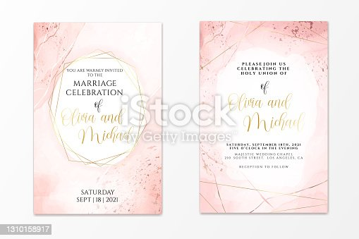 istock Wedding invitation template on dusty pink liquid watercolor background with golden lines and frame. Pastel blush marble alcohol ink drawing effect. Vector illustration of romantic card design 1310158917