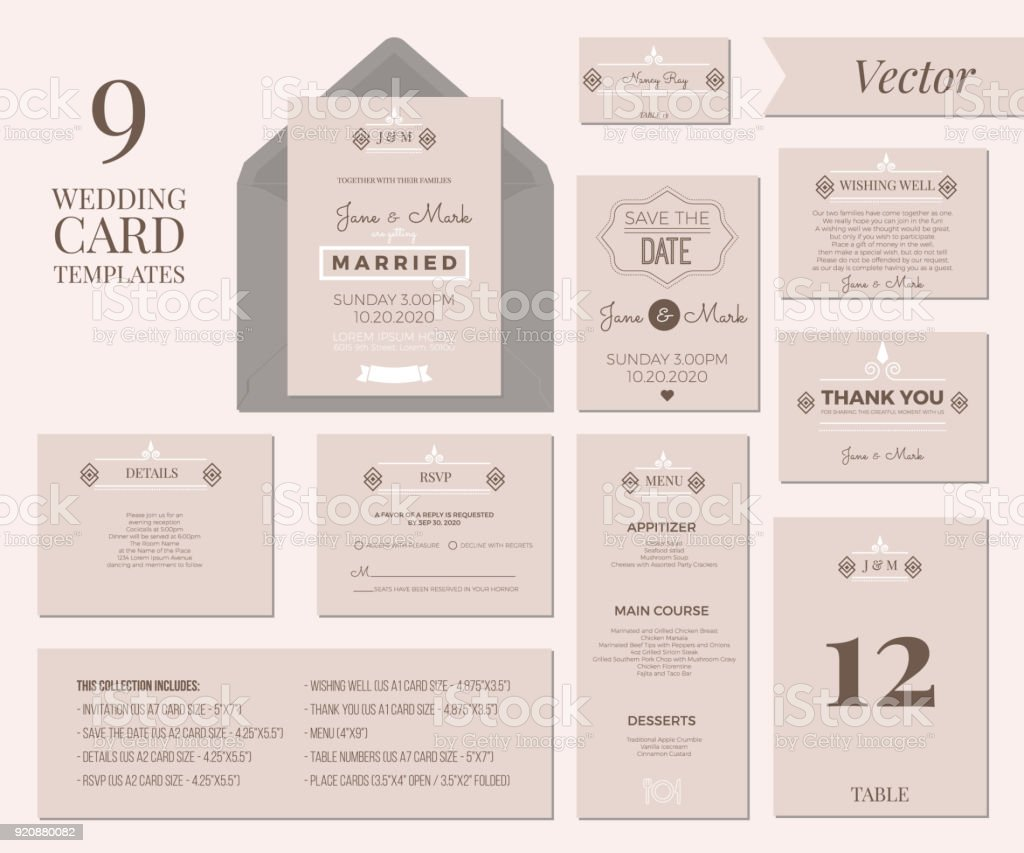 Wedding Invitation Template Stock Vector Art IStock - Wedding invitation templates: wedding place card size