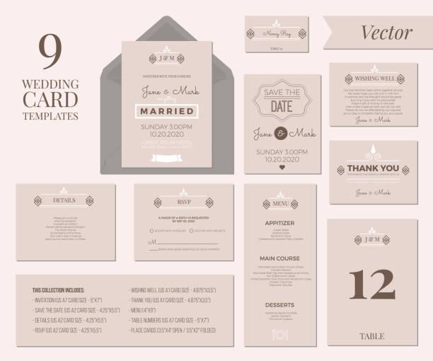 wedding invitation template - wedding invitation stock illustrations, clip art, cartoons, & icons