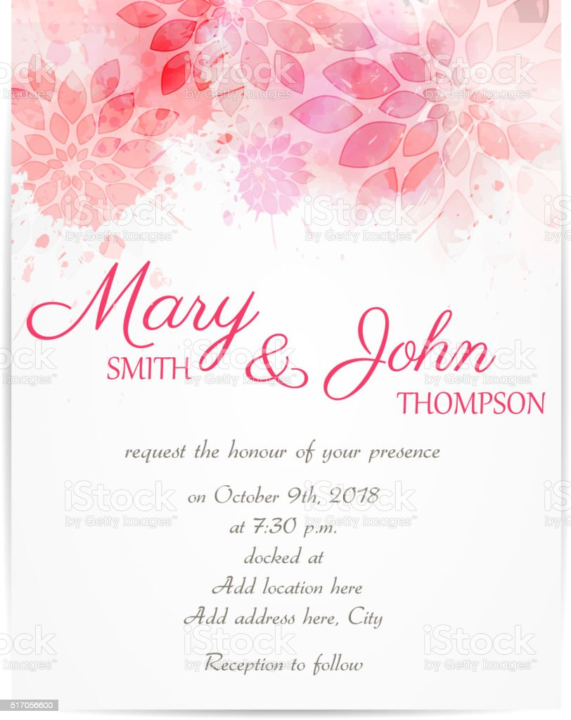 Wedding invitation template with abstract flowers stock vector art wedding invitation template with abstract flowers royalty free wedding invitation template with abstract flowers stock stopboris Gallery