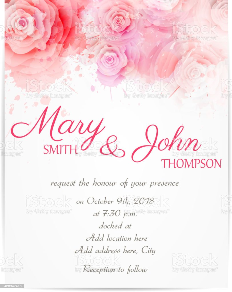 Wedding invitation template with abstract roses stock vector art wedding invitation template with abstract roses royalty free wedding invitation template with abstract roses stock stopboris Image collections