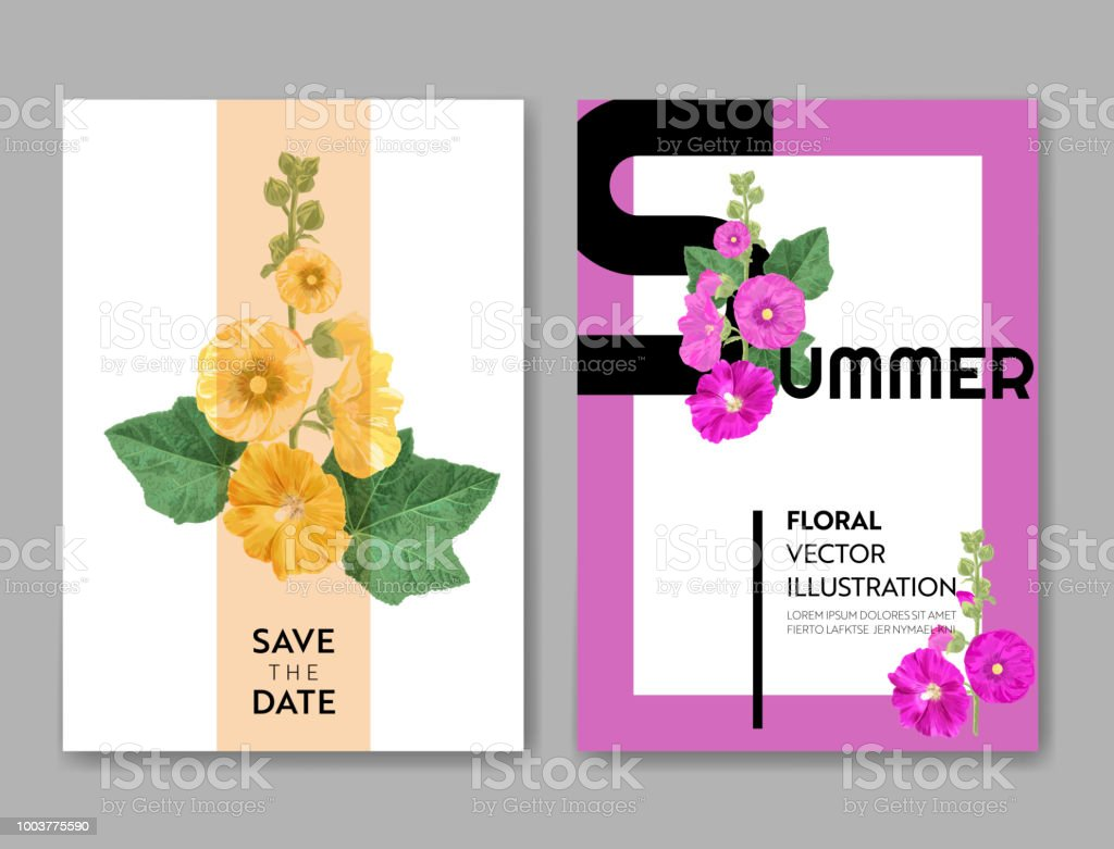 Wedding Invitation Template With Flowers Tropical Floral Save The