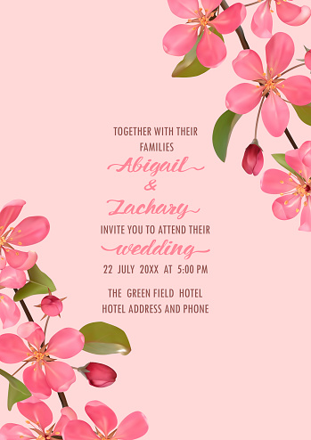 Wedding Invitation template with pink cherry blossom