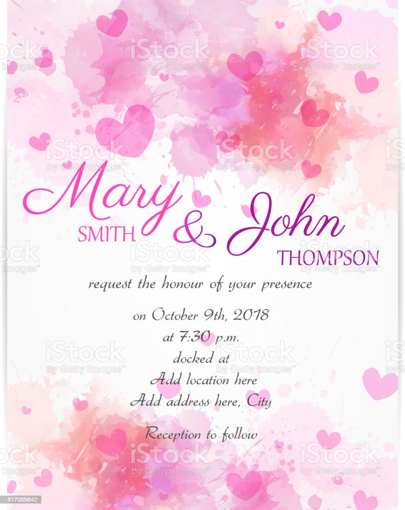 Wedding Invitation Template With Pink Hearts Stock Vector Art & More ...