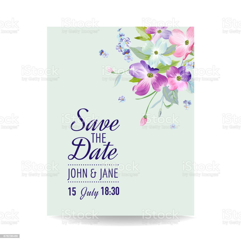 Wedding Invitation Template With Spring Dogwood Flowers Romantic