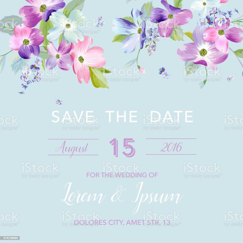 Wedding Invitation Template With Spring Dogwood Flowers Romantic