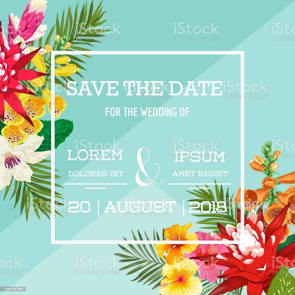 Hochzeit Einladung Vorlage Mit Tigerlilie Blumen Und Palmen Blatter