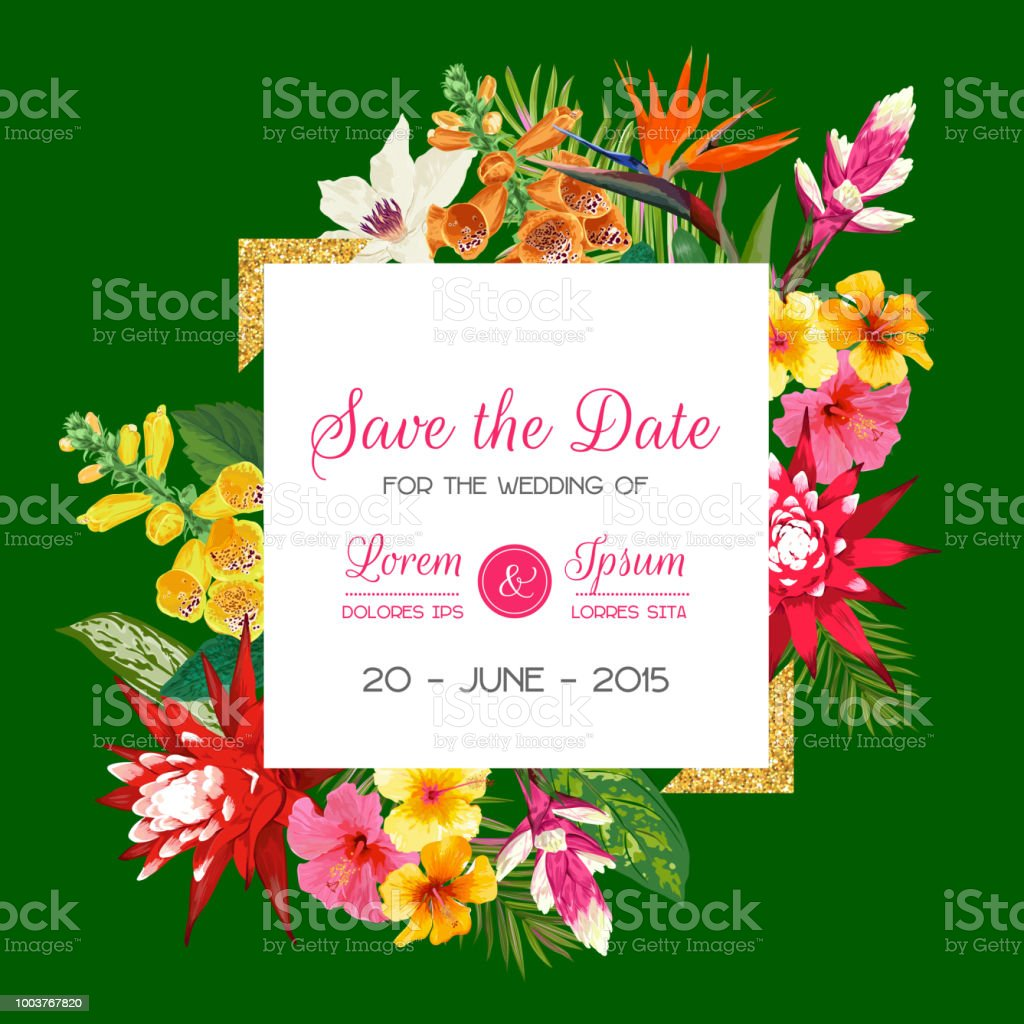 Wedding Invitation Template With Tiger Lily Flowers And Palm Leaves