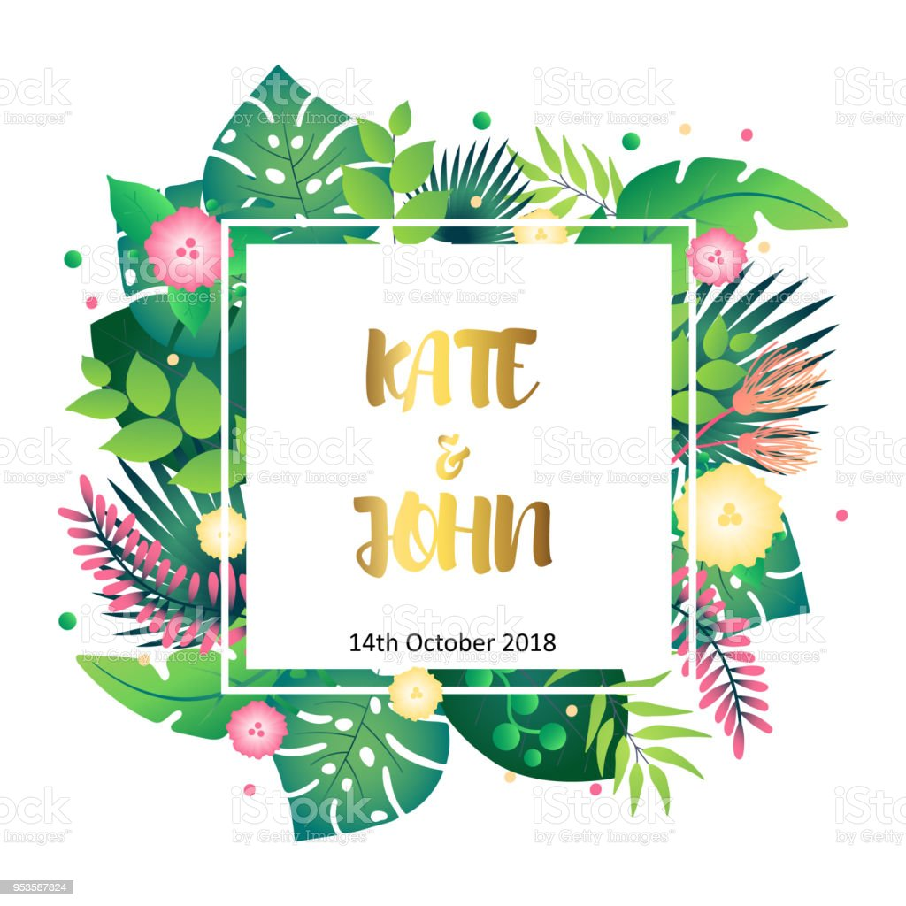 wedding invitation template with tropical leafs royalty free wedding invitation template with tropical leafs stock