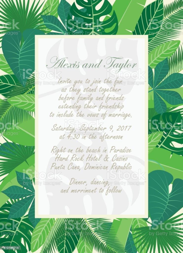 Wedding invitation template with tropical leaves frame and wedding invitation template with tropical leaves frame and rectangular label royalty free wedding invitation stopboris Gallery