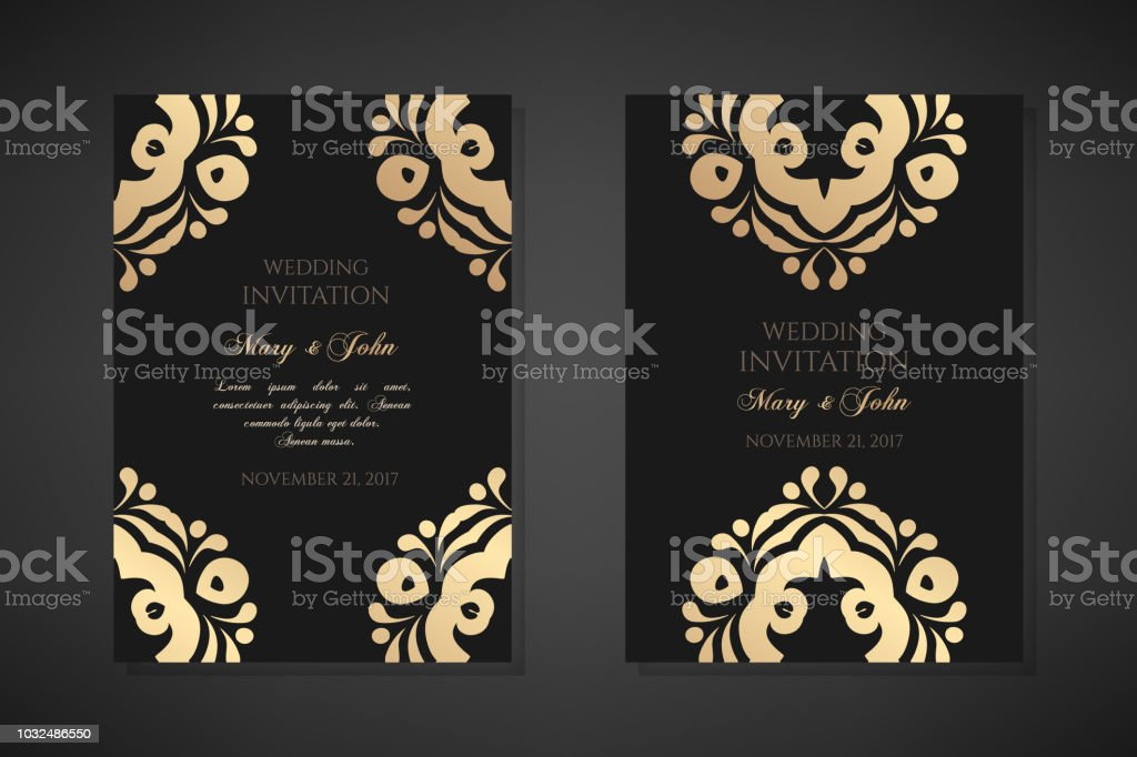 Wedding Invitation Templates Cover Design With Ornaments And Black