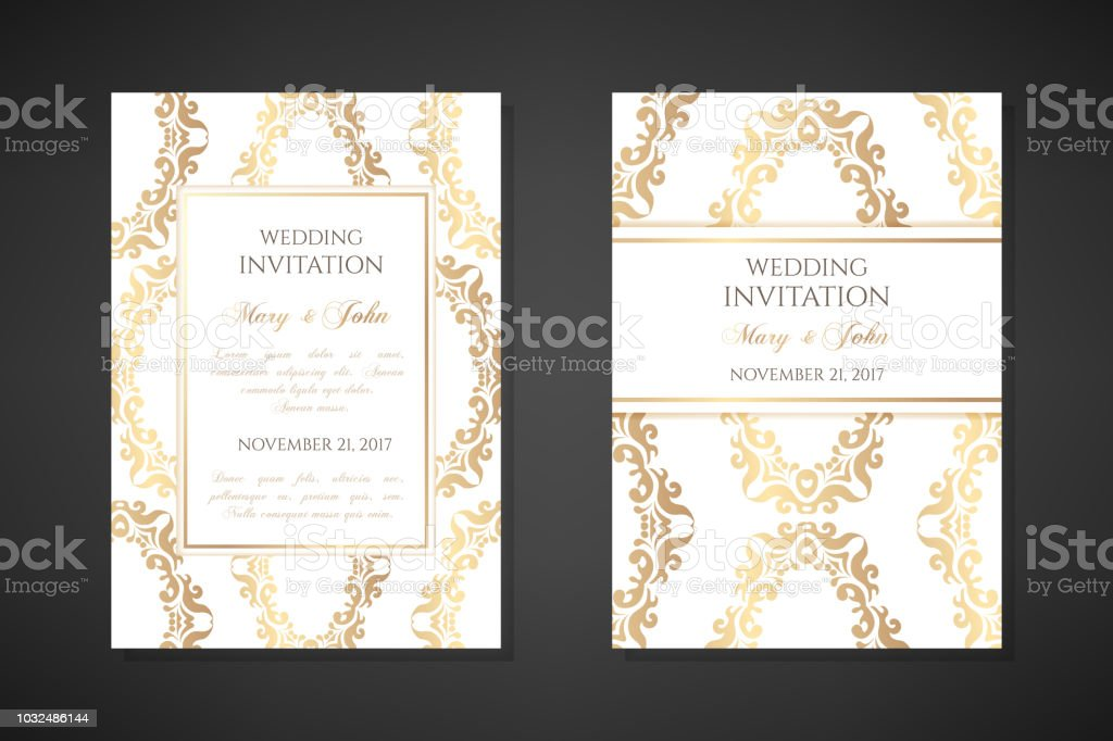 Wedding Invitation Templates.Wedding Invitation Templates Cover Design With Ornaments And White Background Vector Decorative Vertical Posters With Copy Space Stock Illustration