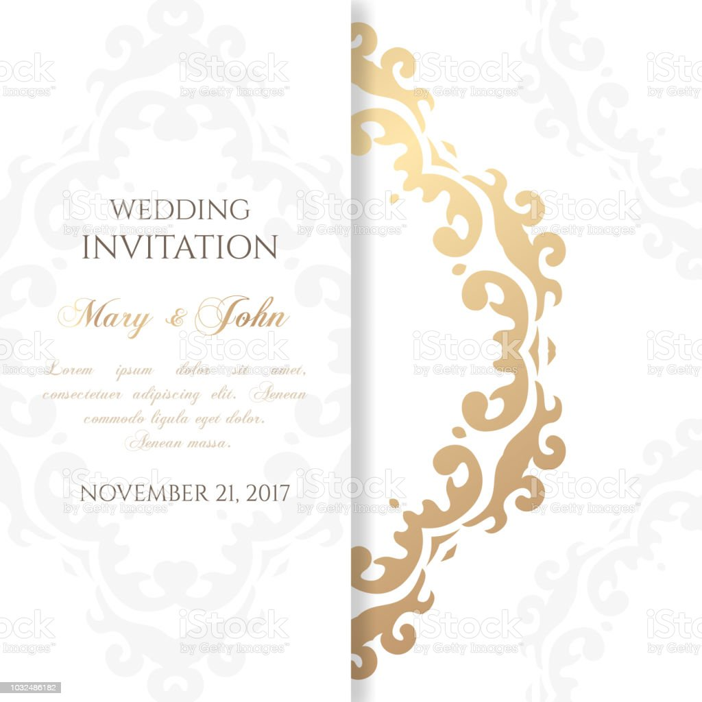 Vintage wedding invitation card design template with floral style.