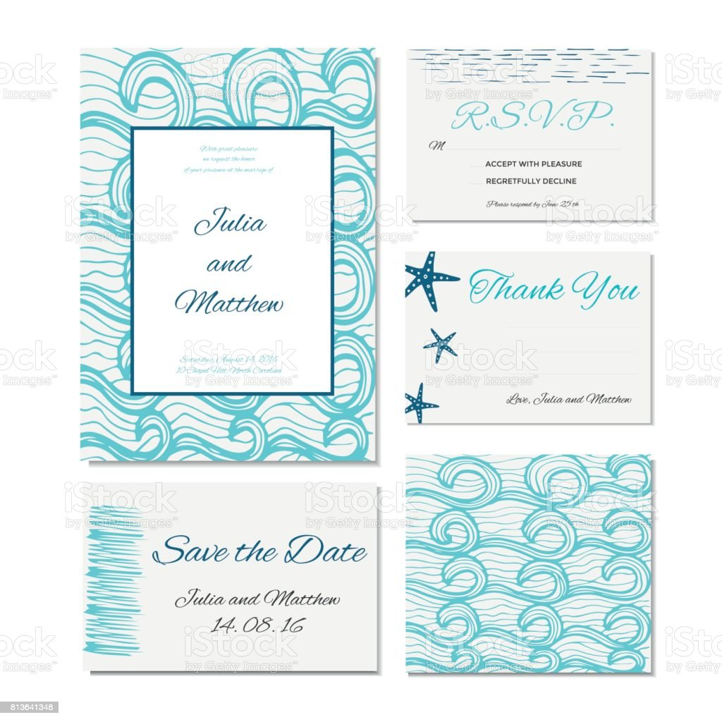 Wedding Invitation Thank You Save The Date Baby Shower Menu Stock