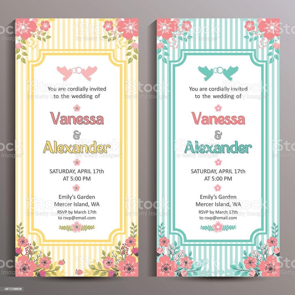 Ilustración De Invitación De Boda Dos Tarjetas Florales