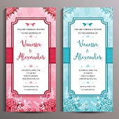 Wedding Invitation Two Floral Vertical Cards Size Is 10x21 Cm Stock
