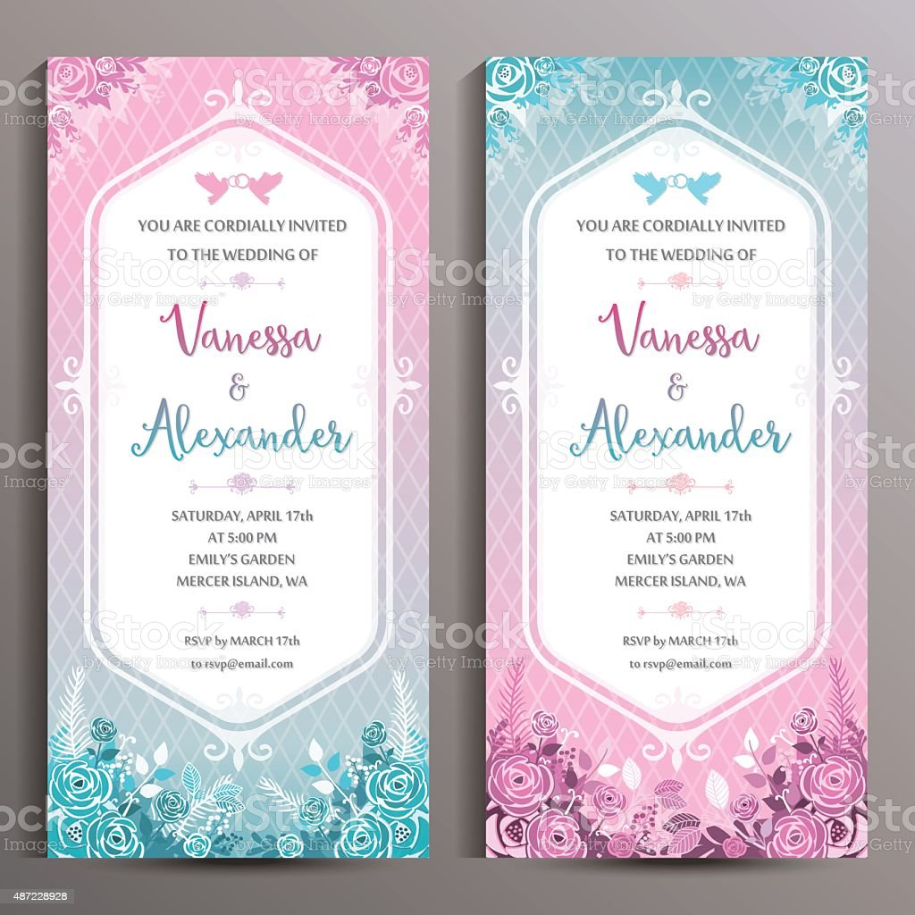 Wedding Invitation Two Floral Vertical Cards Size Is 10x21 Cm Stock ...