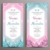 Wedding Invitation. Two floral vertical cards, size is 10x21 cm