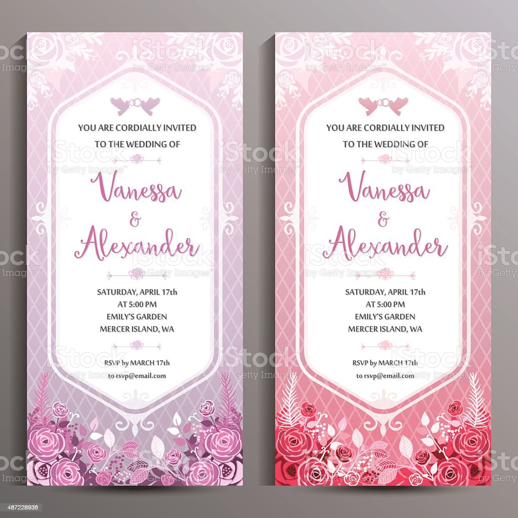 Wedding invitation two floral vertical cards size is 10x21 cm wedding invitation two floral vertical cards size is 10x21 cm royalty free stock monicamarmolfo Gallery