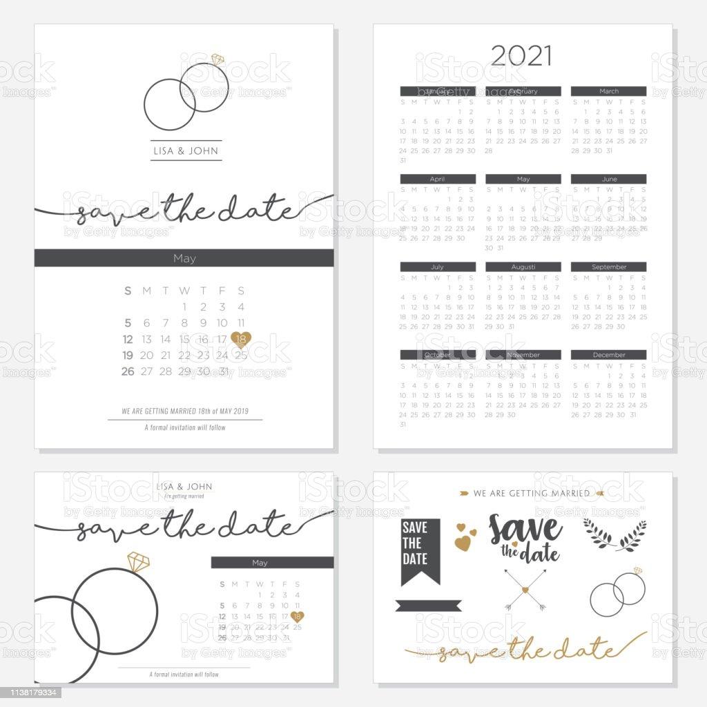 Mariage Invitation Vecteur 2021 Calendrier Design Vecteurs libres