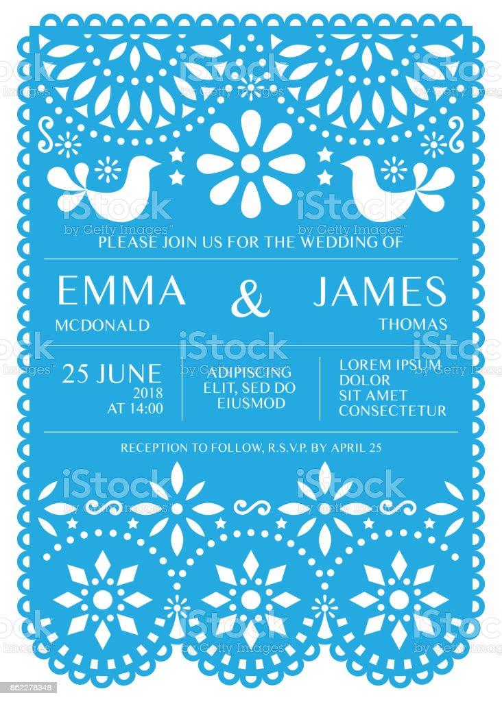 Wedding Invitation Vector Card Template Mexican Folk Papel ...