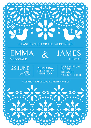 Wedding invitation vector card template - Mexican folk Papel Picado style
