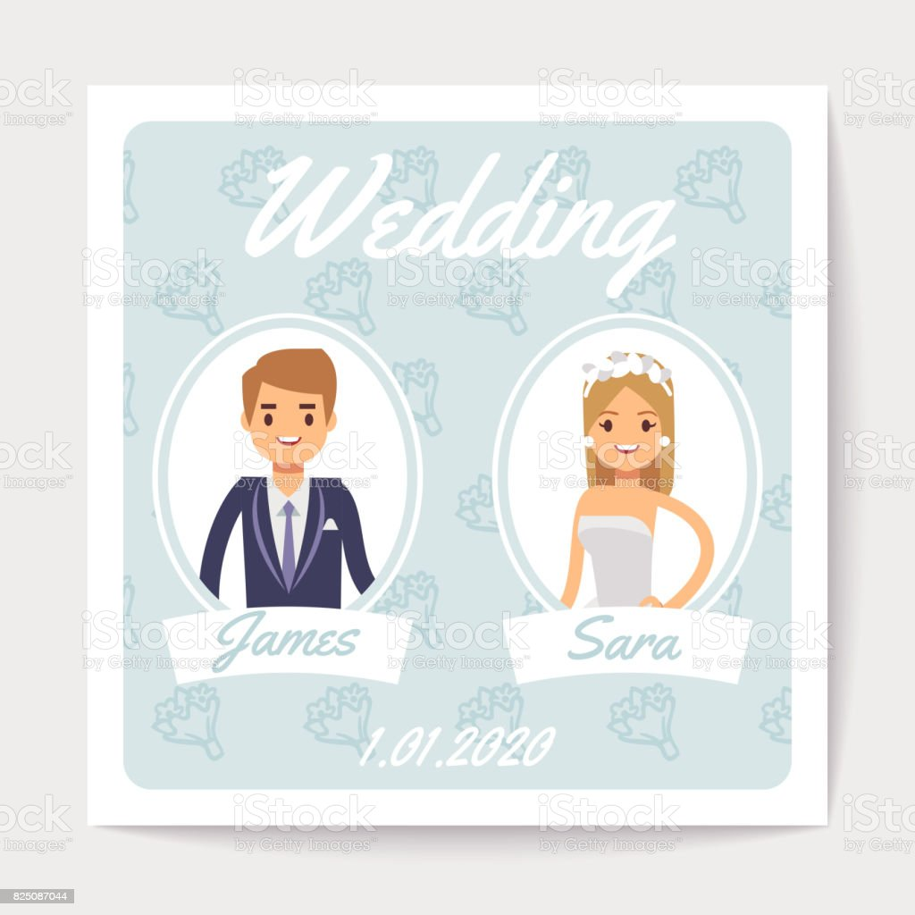Wedding Invitation Vector Card With Happy Married Couple Cartoon