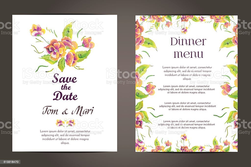 Wedding Invitation Vector Cards Set Stock Vector Art More Images