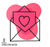istock Wedding Invitation Vector Editable Line Illustration 1215940394