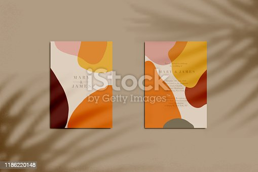 Wedding invitation with shadow overlay  (front and back  side). Vector illustration
