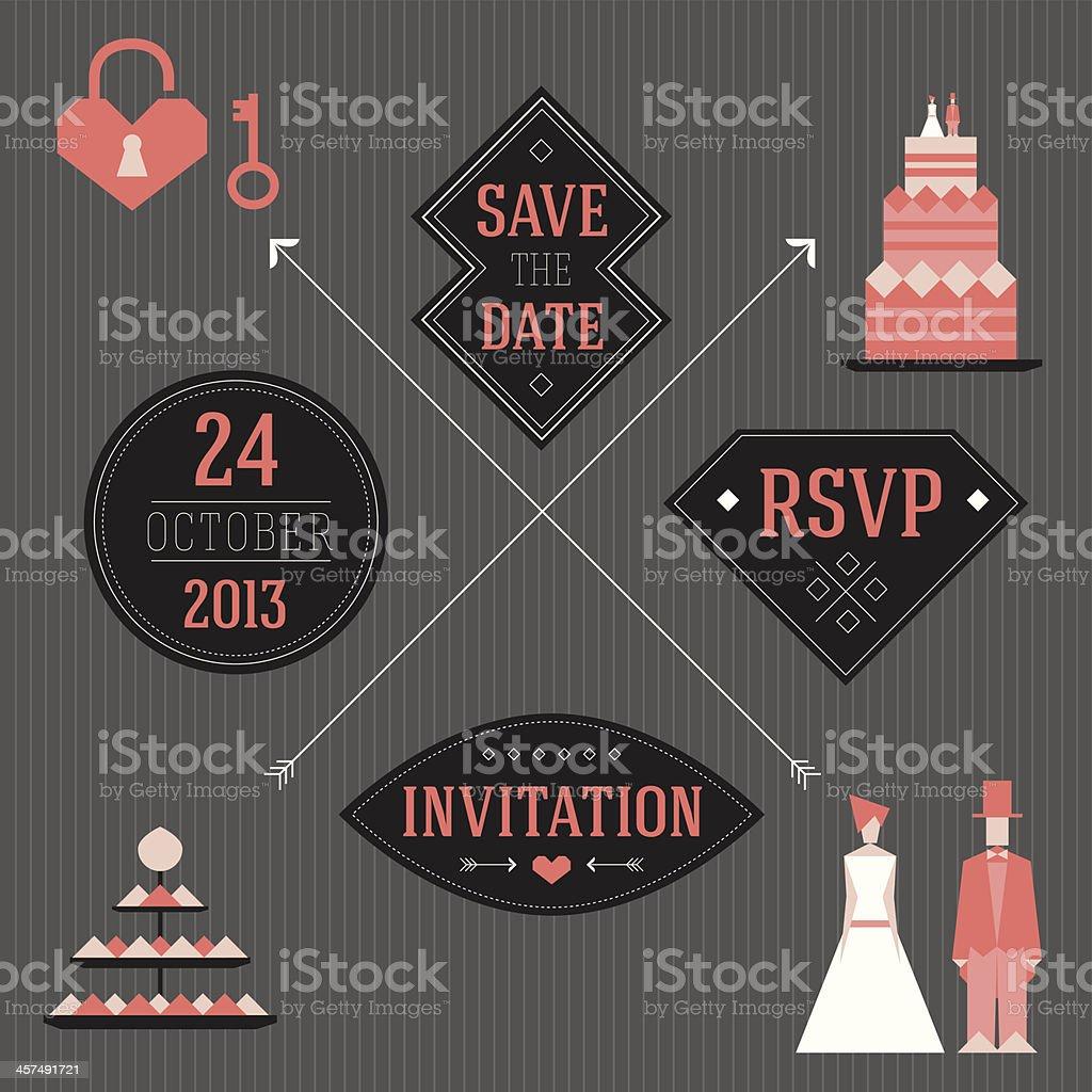 Convite de Casamento - ilustração de arte em vetor