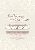Wedding invitation background with swirling motifs top and bottom