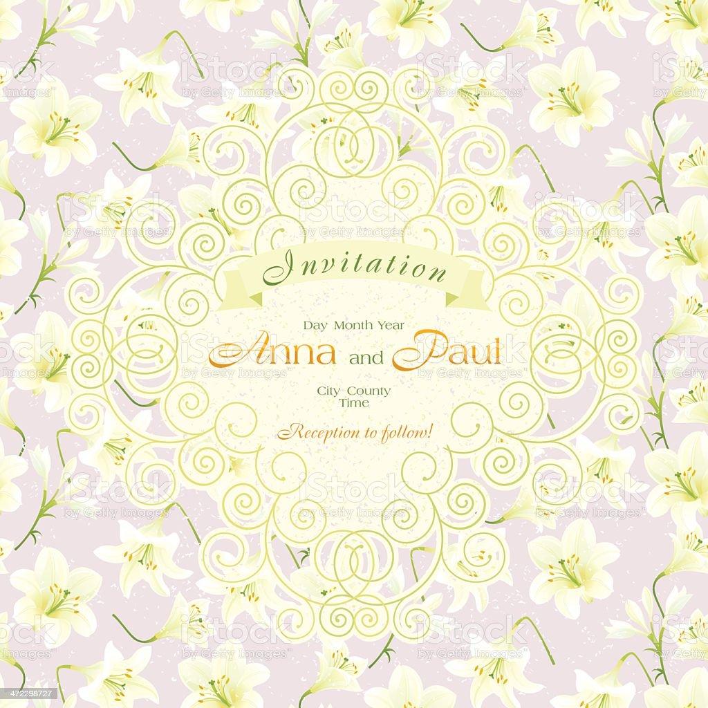 Wedding Invitation (White Lily) royalty-free stock vector art