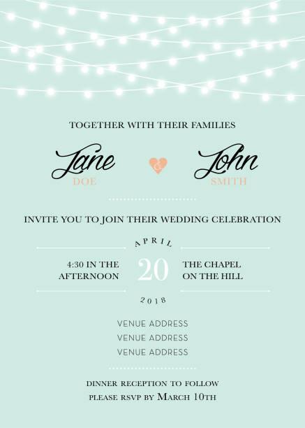 stockillustraties, clipart, cartoons en iconen met uitnodiging bruiloft - snoerverlichting