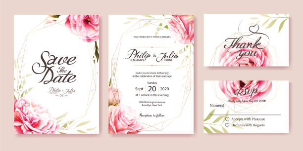wedding invitation. vector. pink rose, olive leaves. watercolor style. - thank you background stock illustrations