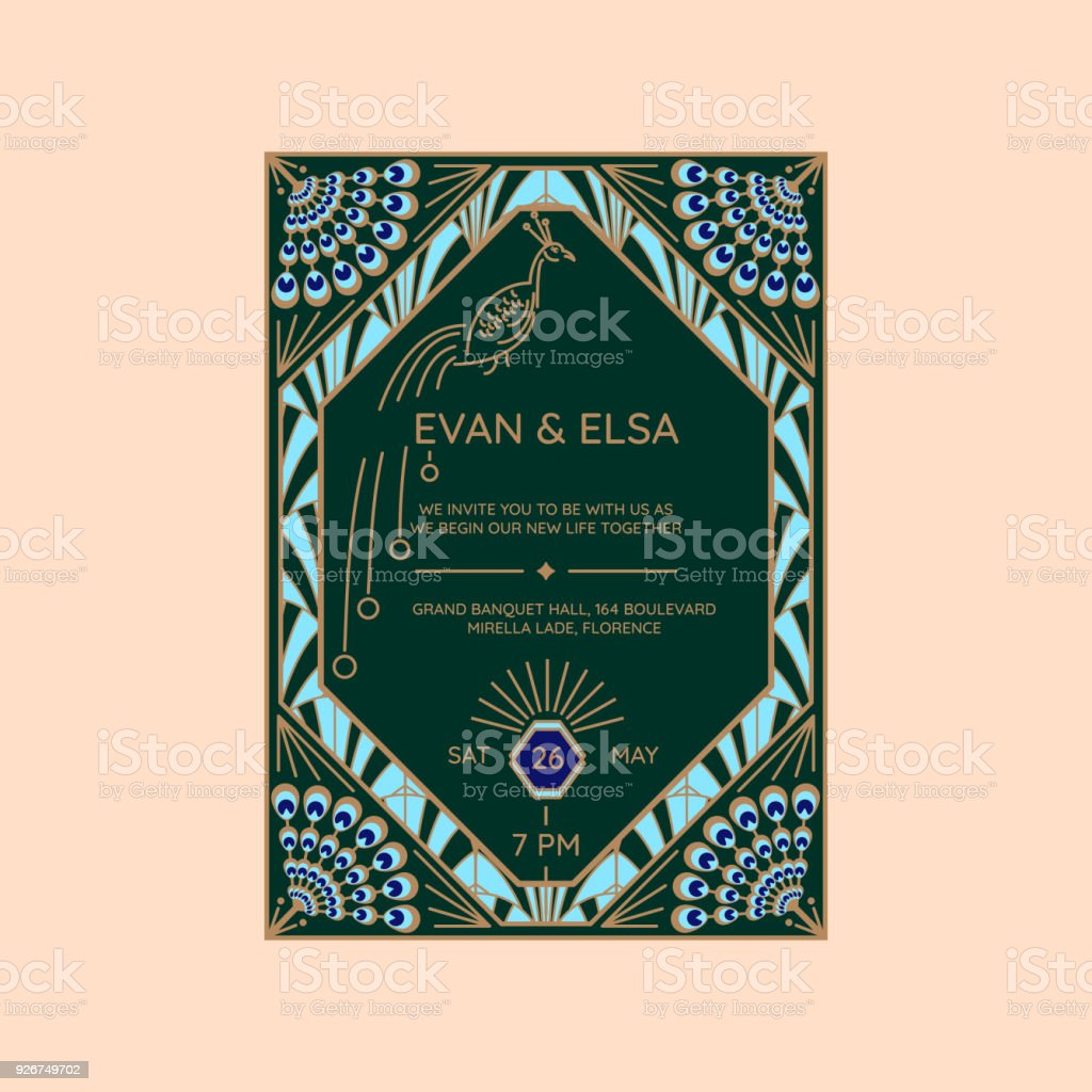 Wedding invitation vector template with peacock icon stock vector wedding invitation vector template with peacock icon royalty free wedding invitation vector template with peacock stopboris Image collections