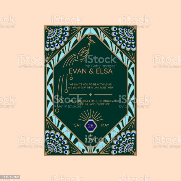 Wedding invitation vector template with peacock icon vector id926749702?b=1&k=6&m=926749702&s=612x612&h=sltbvqrtcj7kk3zqyshfemb9a orx4chpwxkpauj 1a=