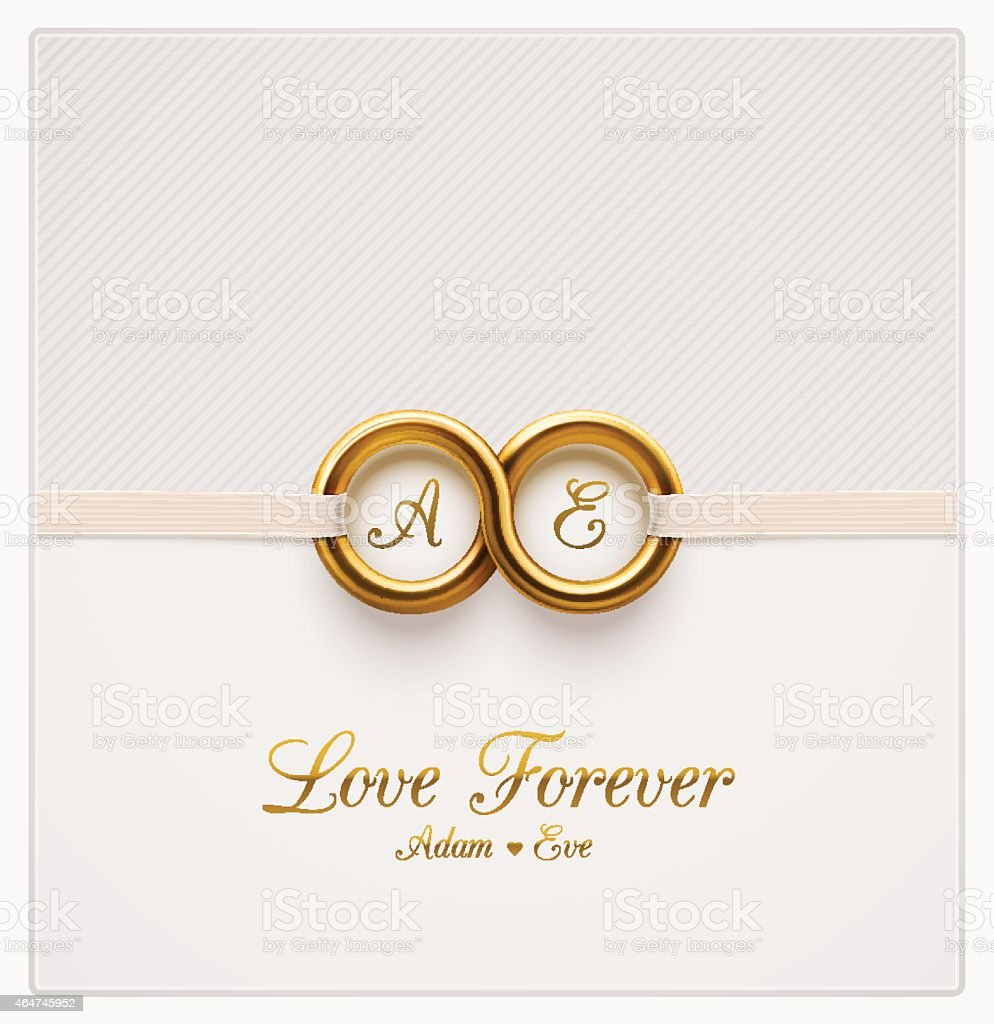 Wedding Invitation White Background With Two Gold Rings Stock Vector